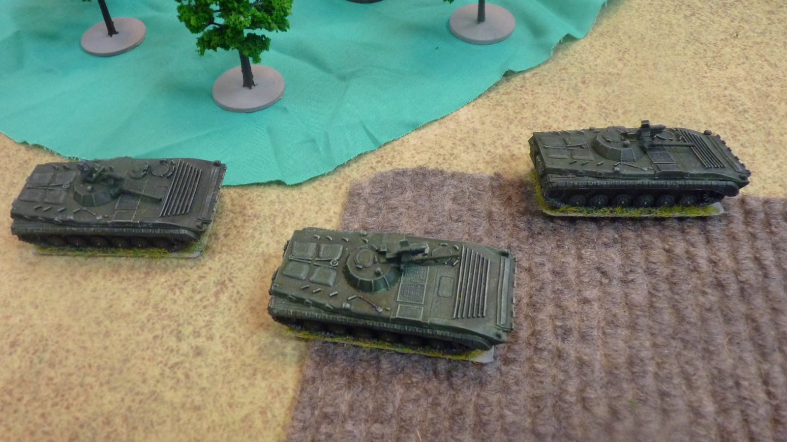 The Soviet Motor Rifle platoon advances in its BMPs