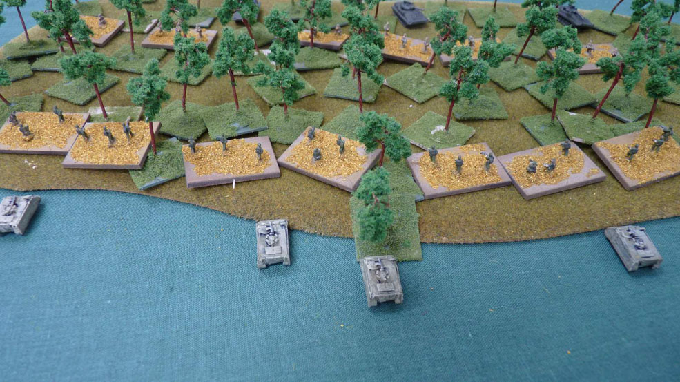 Israeli nfantry move into a wood supported by their carriers