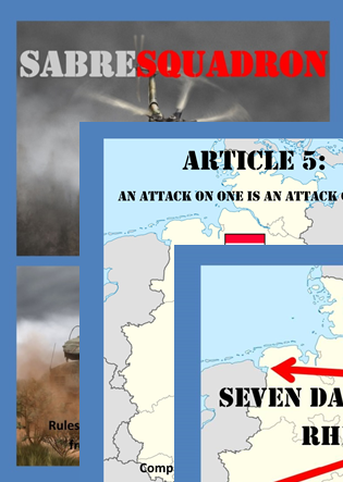 The covers of Sabresquadron rules, and the Seven Days To The Rhine and Article 5 supplements.